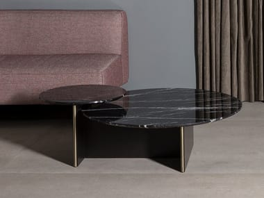 Round marble coffee table with metal base ANT