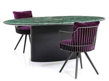 Table à manger ovale en marbre ANTILLES | Table à manger
