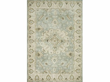 Wool rug ANTIQUE PKWL-6202 Blue Surf/Cloud White