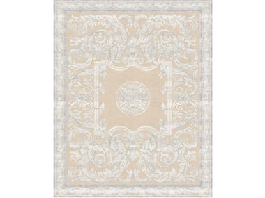 Handmade rectangular rug ANTIQUE SCROLL WHITE