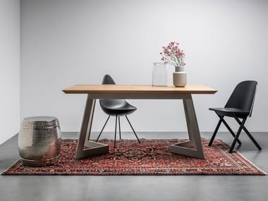 Rectangular table made of solid oak and steel ANTONIO