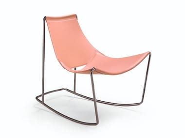 Rocking tanned leather chair APELLE DN