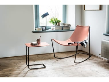 Rocking tanned leather chair APELLE DN | Rocking chair