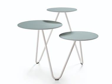 Tavolino in acciaio laccato e piani rivestiti in cuoio APELLE TRIO