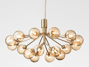 LED blown glass pendant lamp APIALES 18 BRUSHED BRASS - GOLD