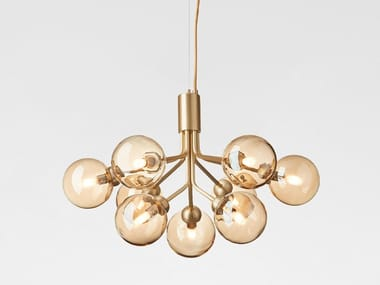 LED blown glass pendant lamp APIALES 9 BRUSHED BRASS - GOLD