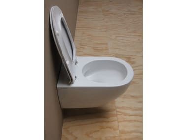 Contemporary style rimless wall-hung ceramic toilet APP GOCLEAN | Wall-hung toilet