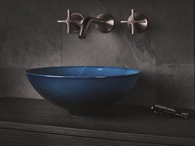 Countertop round glazed steel washbasin AQUA