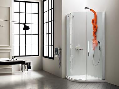 Corner shower cabin with hinged door AQUA | Shower cabin