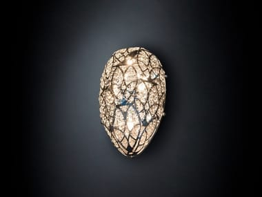 Stainless steel wall light with crystals ARABESQUE EGG 40
