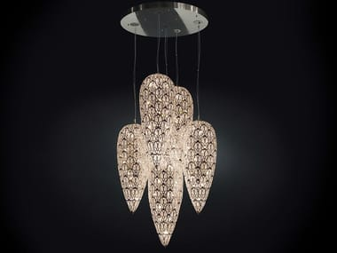 Pendant lamp with crystals ARABESQUE LIGHTFALL SENSATION