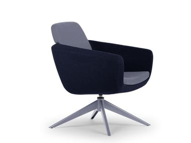 Fabric easy chair with armrests ARCA LOUNGE   Easy chair with 4-spoke base