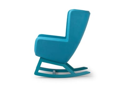 Contemporary style rocking high-back upholstered wooden armchair ARCA   Rocking armchair
