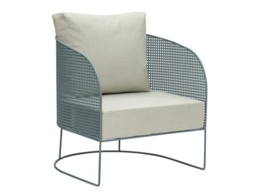 Upholstered metal outdoor guest chair with armrests ARENA | Garden armchair