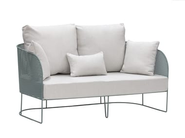 2 seater upholstered galvanized steel outdoor leisure sofa ARENA | Garden sofa