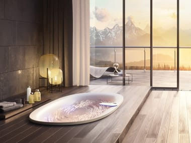 Vasca da bagno idromassaggio ovale in acrilico ARGA® | Vasca da bagno da incasso