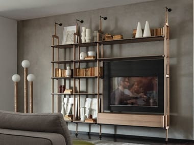 Wall-mounted ash bookcase with TV stand ARIA | Bookcase with TV stand