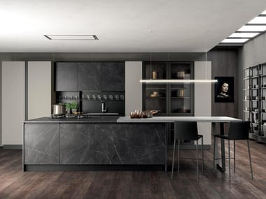 Kitchen with island with integrated handles ARIA