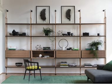Modular ash bookcase with drawers ARIA | Wall-mounted bookcase