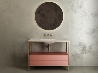 Sectional floor-standing metal console sink ARIA
