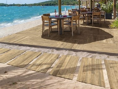Full-body porcelain stoneware outdoor floor tiles with wood effect ARKÈ | Outdoor floor tiles