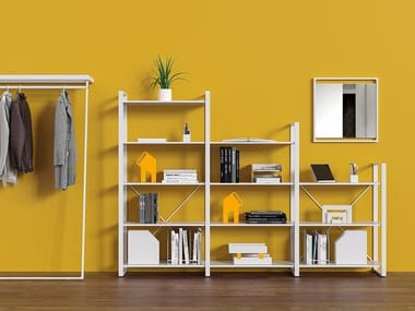 Open freestanding double-sided steel bookcase ARNAGE | Bookcase