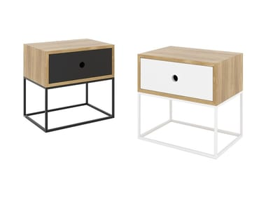 Steel and wood bedside table with drawers ARSEN