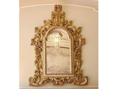 Framed wall-mounted wooden mirror ART