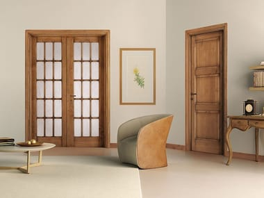 Wood and glass door ARTE POVERA