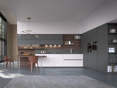 Lacquered linear kitchen with integrated handles ARTIKA | Linear kitchen