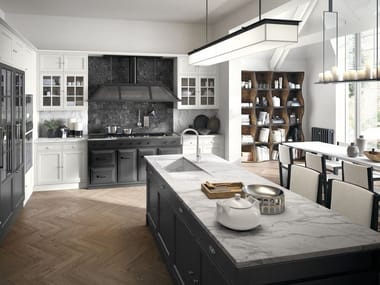 Contemporary style fitted kitchen with island with handles Artis