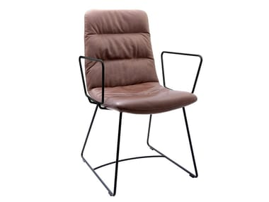 Sled base leather chair with armrests ARVA LIGHT | Sled base chair