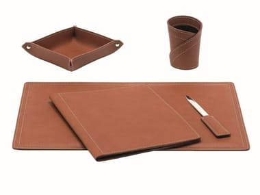 Bonded leather desk set ASCANIO 5 PZ