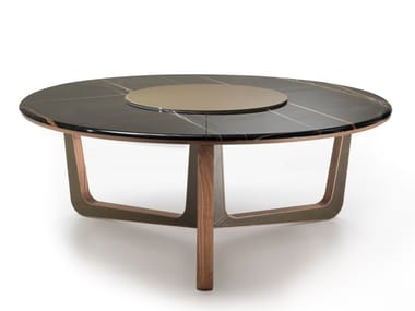 Round Sahara Noir Marble Table With Lazy Susan Ascot