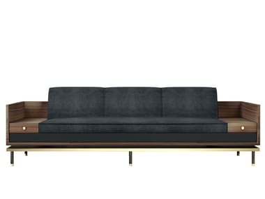 Leather sofa with storage space ASHEVILLE