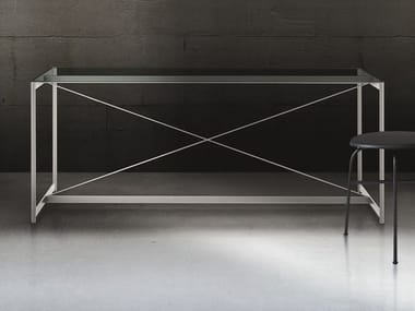 Rectangular crystal and steel table ASNAGO VENDER