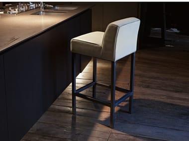 High upholstered stool with back ASPEN