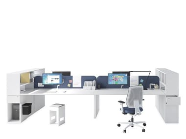 Multiple office workstation with shelves ASTERISCO APP - JOINT