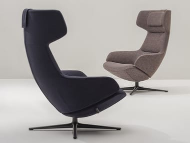 Wing fabric armchair with 4-spoke base with armrests ASTON CLUB | Armchair