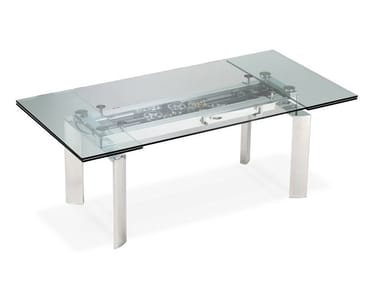 Extending glass and aluminium dining table ASTROLAB
