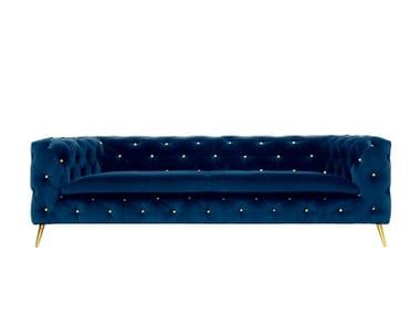 Tufted upholstered velvet sofa ATACAMA