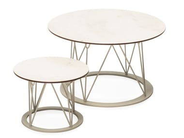 Table basse de jardin ronde en HPL ATAMAN MESH | Table basse