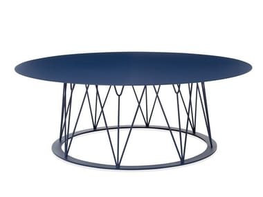Low round powder coated steel coffee table ATAMAN MESH | Low coffee table