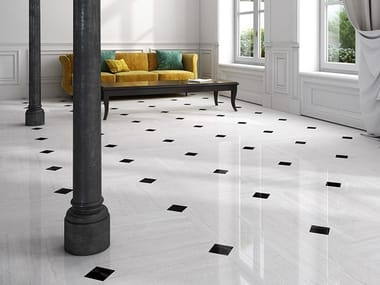 Porcelain stoneware flooring with marble effect ATELIER 18