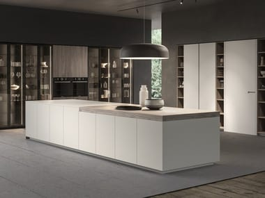 Lacquered linear wooden kitchen with integrated handles ATELIER