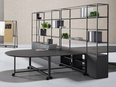Sectional workstation desk with shelves ATELIER | Office desk with shelves