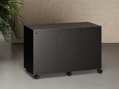 Metal office storage unit with hinged doors with castors ATELIER | Office storage unit