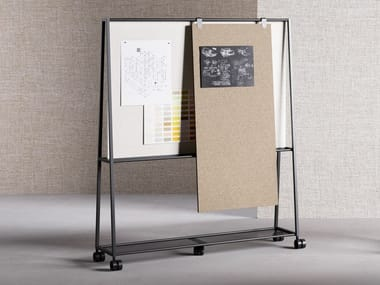 Metal office whiteboard with castors ATELIER | Office whiteboard