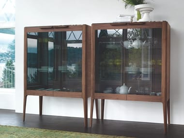 Wooden highboard with crystal hinged doors ATLANTE | Display cabinet