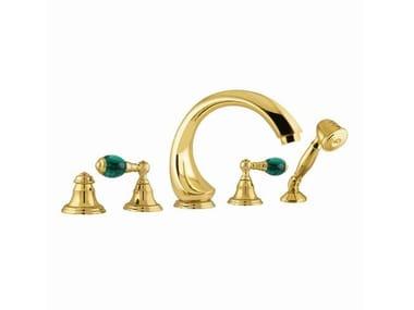 Brass bathtub set with hand shower with individual rosettes ATLANTICA PRECIOUS | Bathtub set